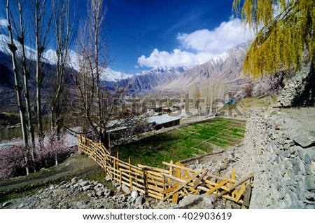 beautiful Landscape of hunza valley gilgit baltistan in a sunny day  - stock photo