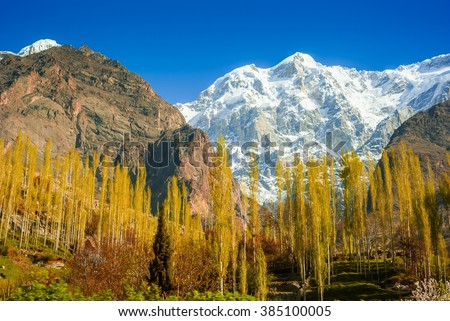 beautiful Landscape of Hunza Valley in Autumn season. Northern Area of Pakistan