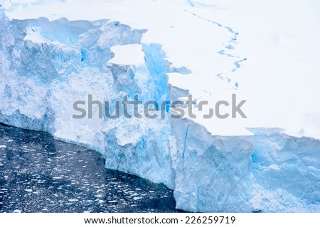 Beautiful landscape of icebergs, snow and ice of Antarctica - stock photo