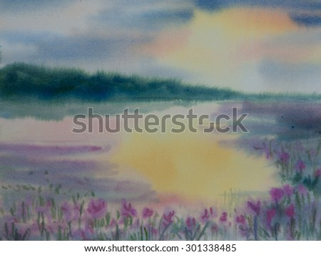 Beautiful landscape of lake with colorful sky at sun set time, watercolor painting - stock photo