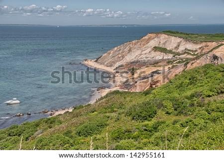 Beautiful landscape of Matha's Vineyard coast, MA. - stock photo