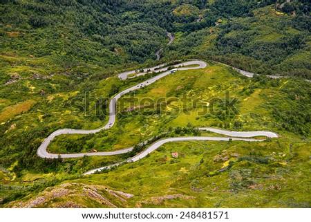 Beautiful landscape of Norway,winding mountain roads, Scandinavia - stock photo