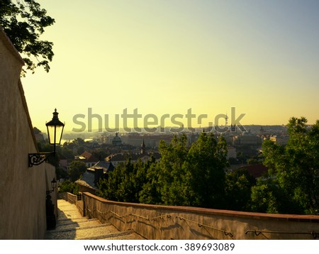 Beautiful landscape of Prague at early morning in sunrise time