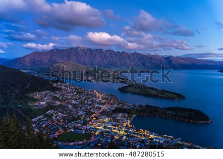 Beautiful Landscape of Queenstown, Lake Wakatipu and The Remarkables during dusk hour