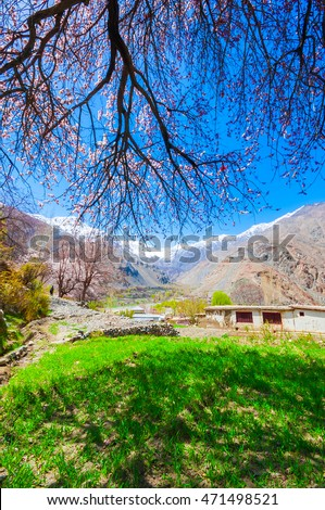 beautiful landscape of rural villages, Shigar valley