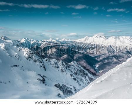 Beautiful landscape of snowy mountains, panorama - stock photo