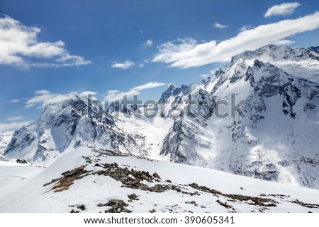 Beautiful landscape of the Caucasus Mountains Dombai on winter resort - stock photo