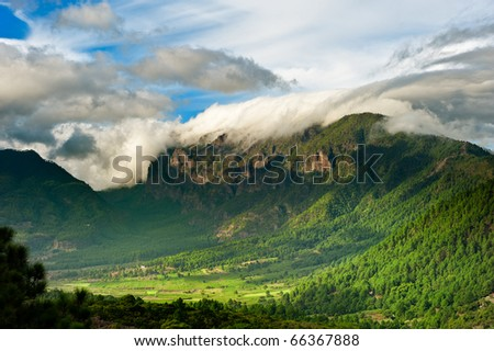 Beautiful landscape of the mountains in La Palma, Canary Islands, Spain - stock photo