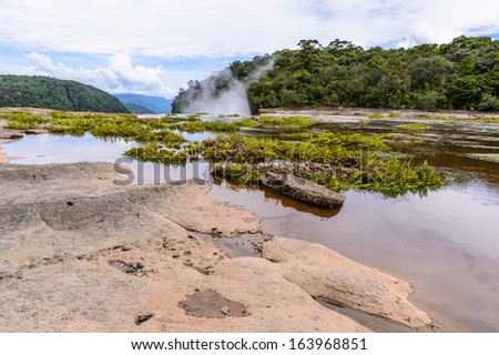 Beautiful landscape of  the Potaro River in central Essequibo Territory, Kaieteur National Park, Guyana, South America - stock photo