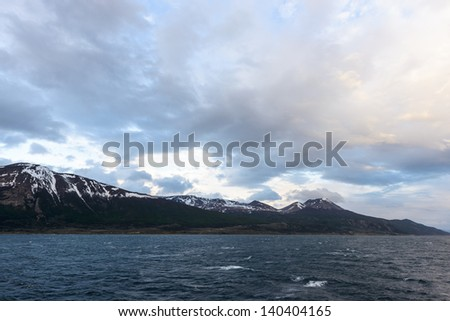 Beautiful landscape of the snow mountains of the Tierra del Fuego