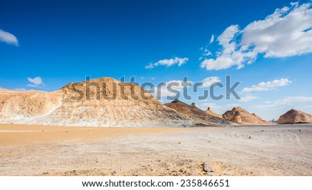 Beautiful landscape of the Western White Desert, main geographic attraction of Farafra. - stock photo