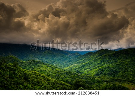 Beautiful landscape of tropical mountain and cloudy sky landscape ,phetchabun thailand