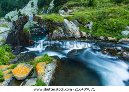 Beautiful landscape of Valley de Nuria in the catalan pyrenees, Spain  - stock photo