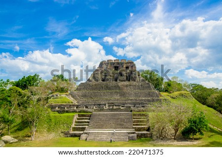 beautiful landscape of xunantunich maya site ruins in belize caribbean - stock photo