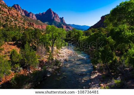 Beautiful landscape of Zion National Park,Utah - stock photo