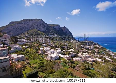 beautiful landscape on capri island, italy - stock photo