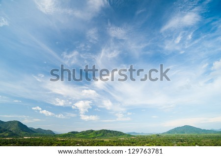 Beautiful landscape on mountain with nice sky - stock photo