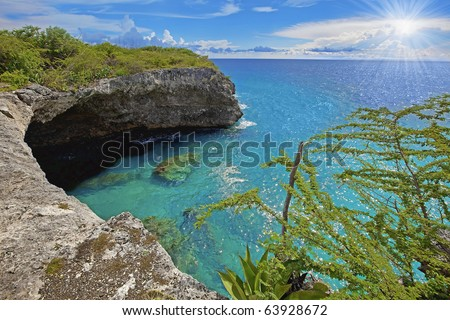 Beautiful landscape on the caribbean island, Curacao - stock photo