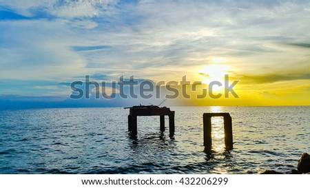 beautiful landscape sea sunset on the beach - stock photo