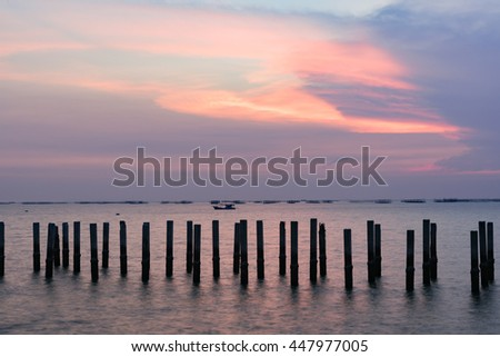 Beautiful landscape seascape sunset over the sea
