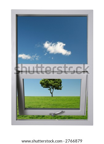 Beautiful landscape seen from a brand new window - image contains a clipping path for easy masking - stock photo