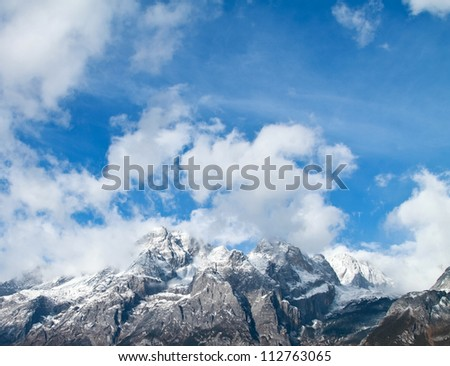 Beautiful landscape snow mountain with blue sky