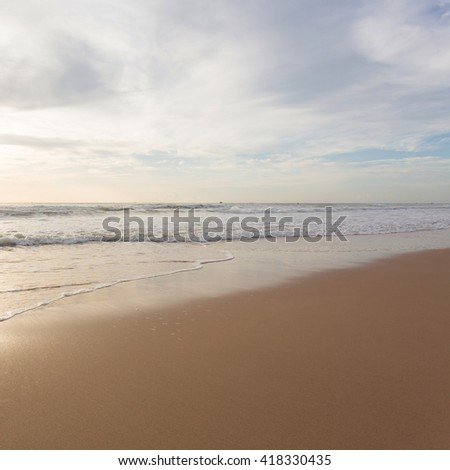 beautiful landscape summer sea with clean sand beach - stock photo