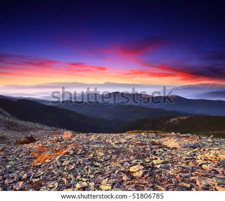 Beautiful landscape under morning sky with clouds - stock photo