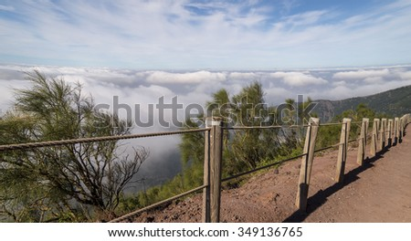 Beautiful landscape view from the Vesuvius Crater, active volcano of Naples - stock photo