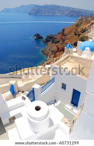 Beautiful landscape view in Santorini, greek colours - stock photo