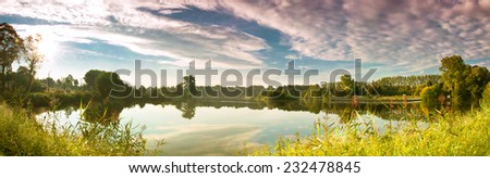 beautiful landscape, view of the lake in the morning - stock photo