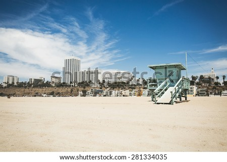 Beautiful landscape view on lifeguard tower on Santa Monica beach in Los Angeles, California - stock photo