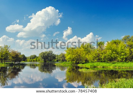 Beautiful landscape wallpaper with flood waters of Narew river, Poland. - stock photo