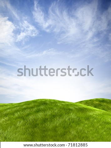 Beautiful landscape with a green hill and the sky on the background