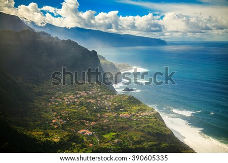 beautiful landscape with a small sea village a on the north side of Madeira, Portugal - stock photo