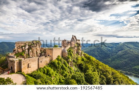 Beautiful landscape with Aggstein castle ruin and Danube river in Wachau, Austria - stock photo