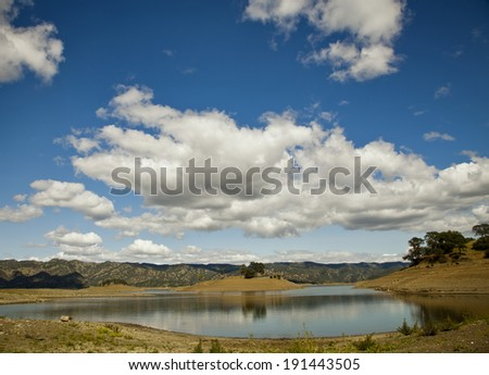 Beautiful landscape with blue sky and white clouds, Sunshine, mountains and lake