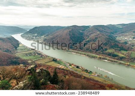 Beautiful landscape with danube river in wachau, lower austria - stock photo