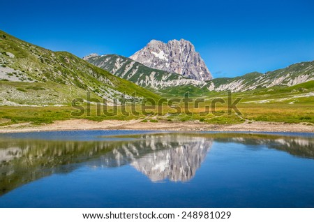 Beautiful landscape with Gran Sasso d'Italia peak at Campo Imperatore plateau in the Apennine Mountains, Abruzzo, Italy