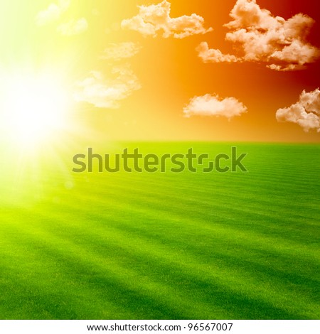 Beautiful landscape with green field and magic sunset - stock photo