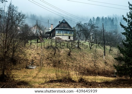 beautiful landscape with house on hill in Carpathians, Ukraine - stock photo