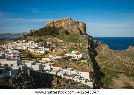 Beautiful landscape with Lindos town on the slope of a hill, Rodos, Greece