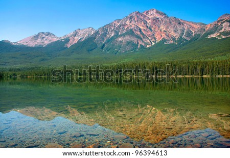 Beautiful landscape with mountain lake and Rocky Mountains in Banff National Park, Alberta, Canada