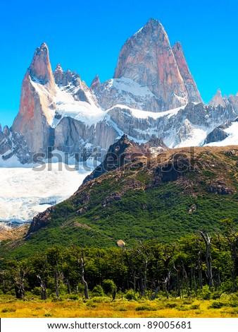 Beautiful landscape with Mt Fitz Roy in Los Glaciares National Park, Patagonia, Argentina, South America - stock photo