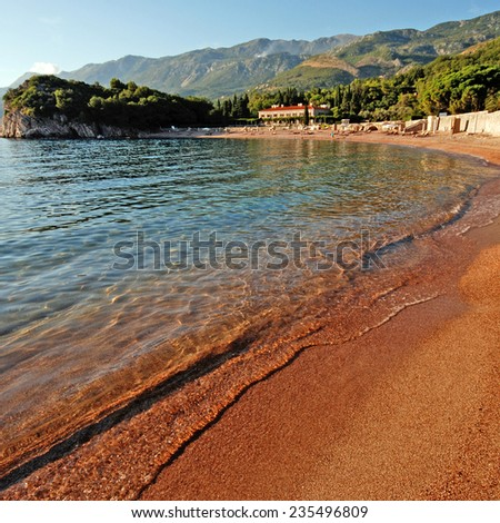 beautiful landscape with Queen's beach, villa and mountains, Adriatic sea (Montenegro).Square image, selective focus - stock photo
