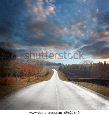 beautiful landscape with road - stock photo