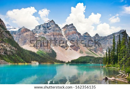 Beautiful landscape with Rocky Mountains and famous Moraine Lake in Banff National Park, Alberta, Canada - stock photo
