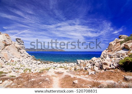 Beautiful landscape with sea, rocks and blue sky in Villasimius, Sardinia, Italy.