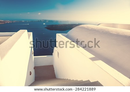 Beautiful landscape with sea view at sunset. Santorini island, Greece. Creative vintage filter - stock photo
