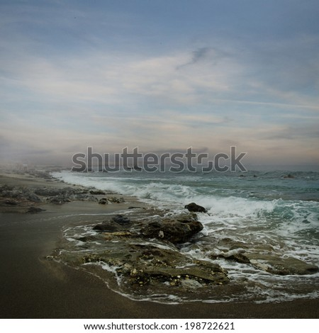 Beautiful landscape with sea waves - stock photo